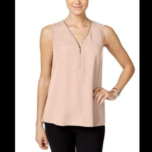 INC SLEEVELESS ZIP FRONT KNIT BACK TOP NWT